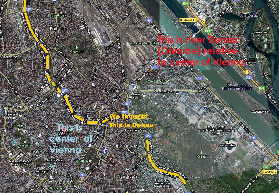Donau is far from Wien