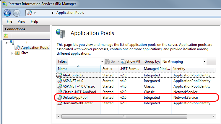 Login failed for user IIS APPPOOL\DefaultAppPool