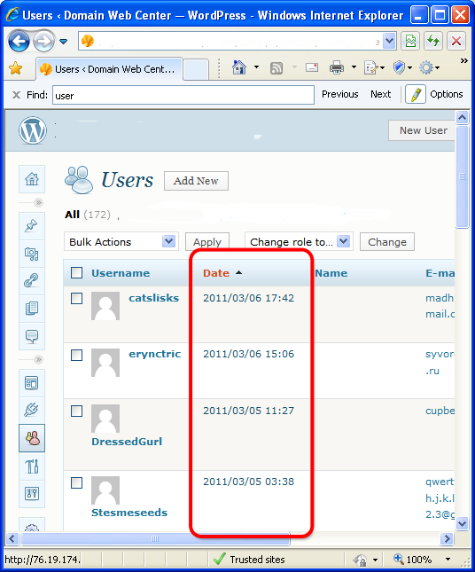 Add User Register Date Column in WordPress 3.X and 4.X
