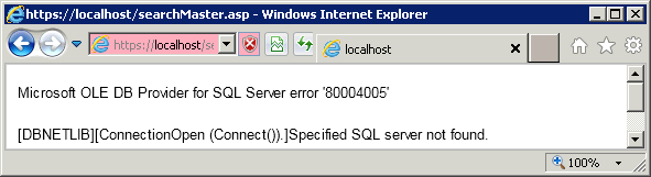 SQL Error 80004005 -