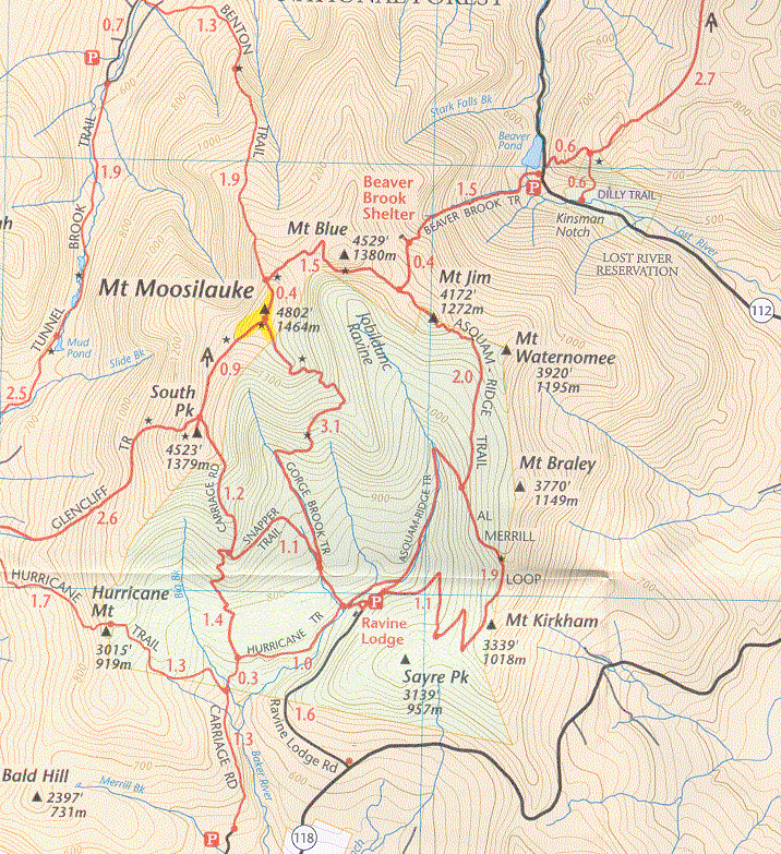 Moosilauke Trail Map