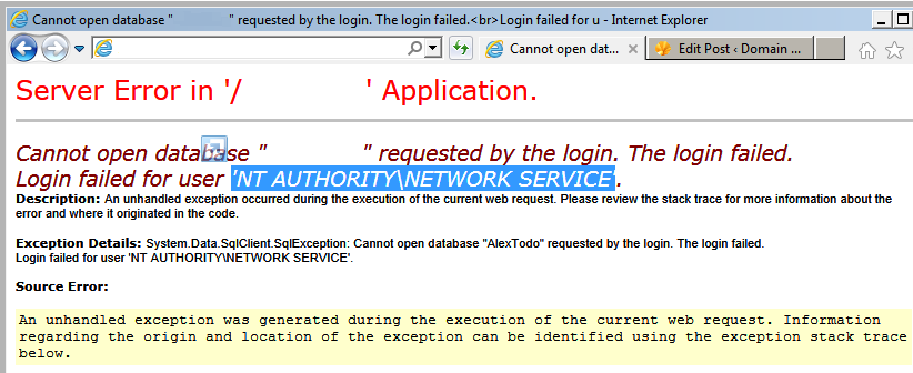 Cannot open database … requested by the login. The login failed.
