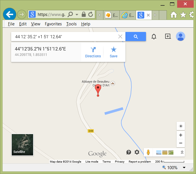 Google maps - enter GPS coordinates