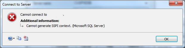"Fix ""Cannot generate SSPI context"" while connecting to SQL Server"