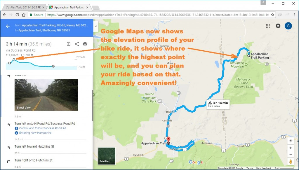 Google Maps shows elevation profile for bike rides