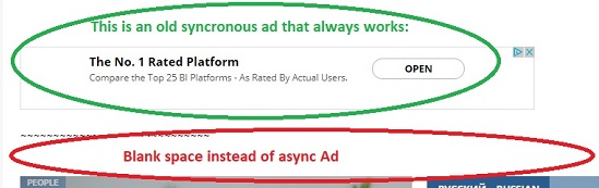 Both sync and async ads rendered -only sync ad is visible