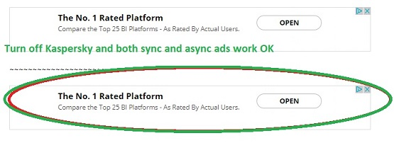 Turn off Kaspersky and see both sync and async ads
