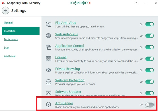 Kaspersky Anti-Banner switch