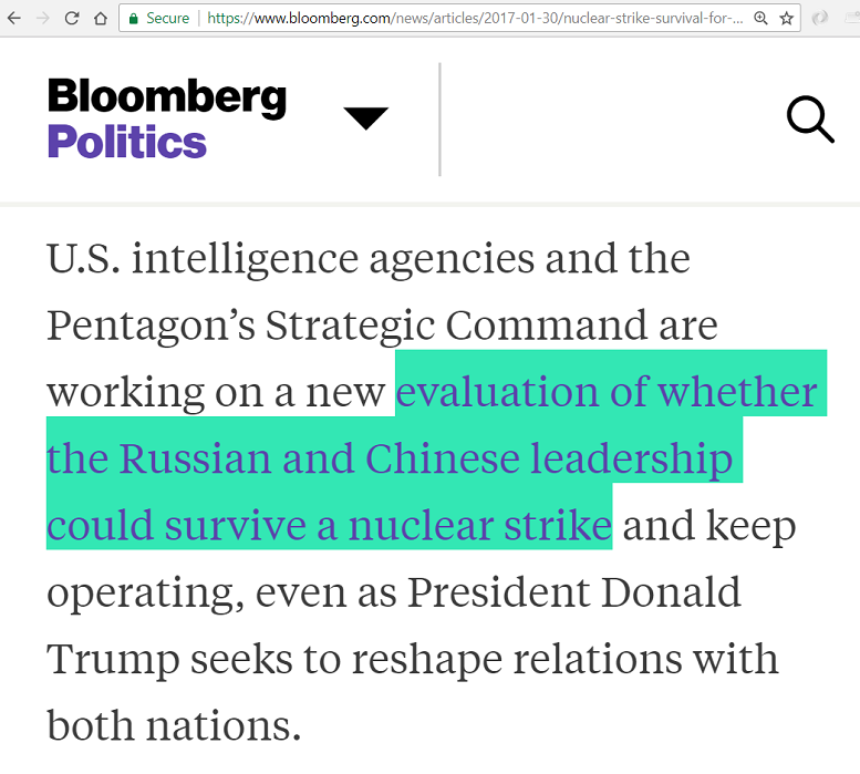 Obama/Hilary would like to know will Russian/Chinese leadership survive a nuclear strike and keep operating